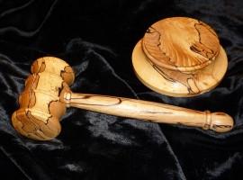Handmade English spalted beech gavel and striking block