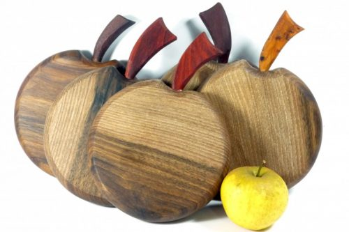 handmade mini chopping boards apple shaped