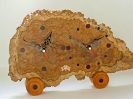 Handmade clock in Autralian Brown Mallee Burr with 2 world zones