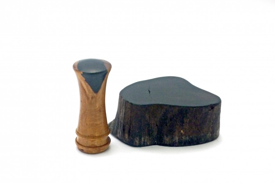 African blackwood root palm gavel and block