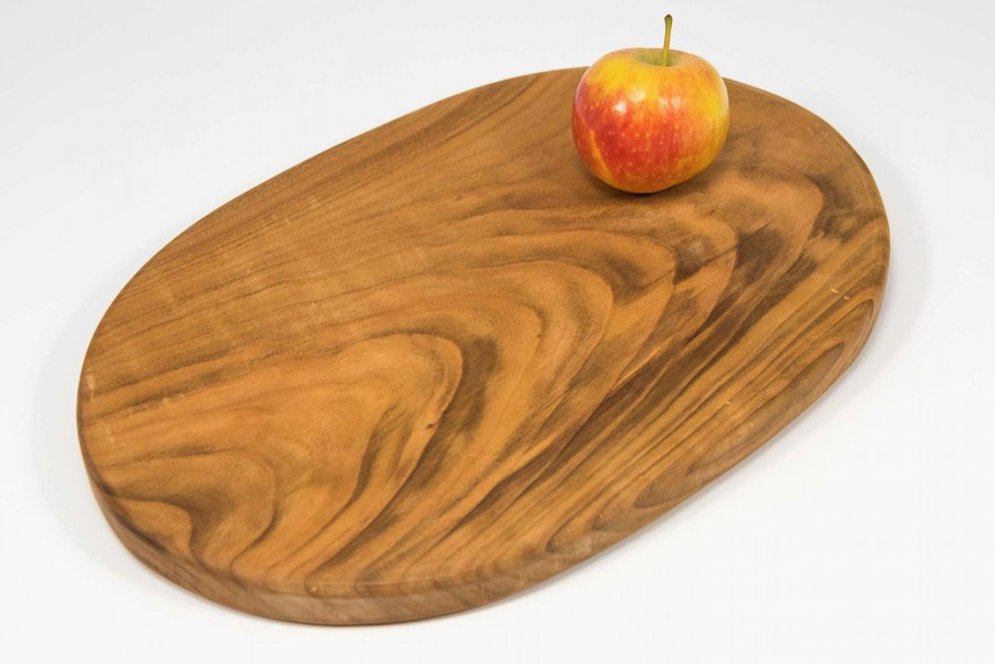Handmade oval cutting or chopping board in English Wild Cherry