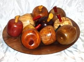 handmade wooden apples in handmade wooden bowl
