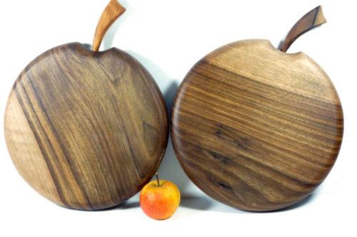 set of 2 walnut wooden handmade apple shape chopping boards