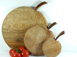 set of 3 handmade handcut wooden apple shaped chopping boards English Lacewood
