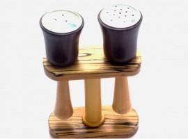 handmade wooden salt and pepper shaker bell shaped