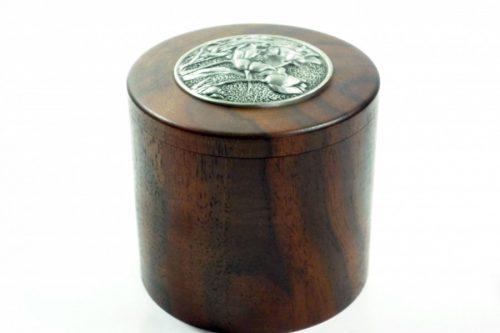 handmade pot American caro walnut lid pewter decorative inlay