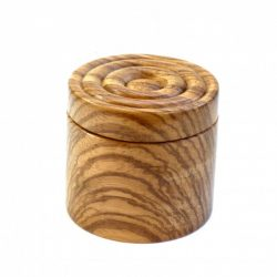 handmade wooden pot swivel lid with magentic catch spiral pattern Zebrano