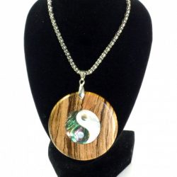 Handmade pendant zebrano wood with abalone and mother of pearl ying and yang
