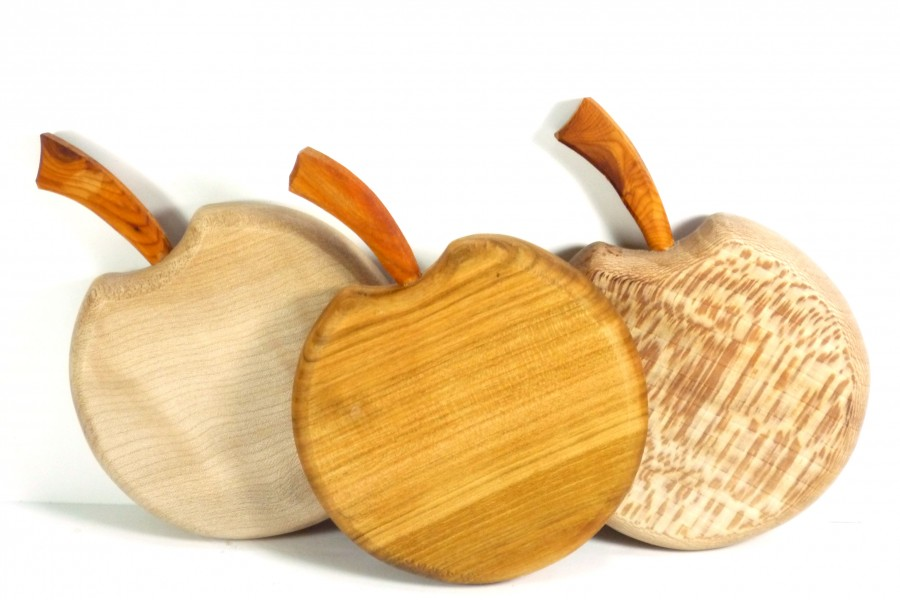 handmade apple shaped wooden cutting chopping board