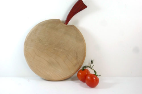 wooden chopping board apple shaped