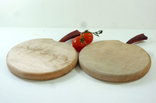 wooden handmade apple shaped chopping board