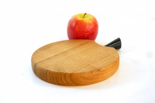 Handmade hand cut single piece chopping board in English Wild Cherry with stalk detail Plantation Ebony