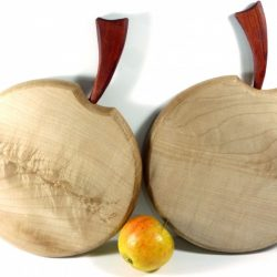 Pair of qiuilted English sycamore chopping boards redheart stalks