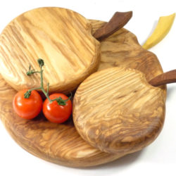 handmade wooden set of 3 apple shaped chopping cutting boards