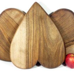 walnut wooden heart shaped chopping boards