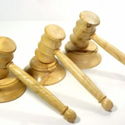 handmade trio of wooden gavels and blocks English Spalted Hornbeam