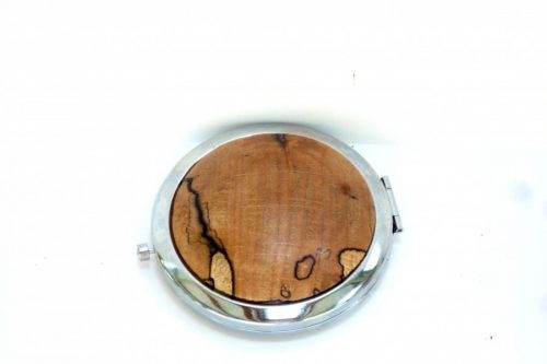 compact with decorative wooden top in English Spalted Beech wood