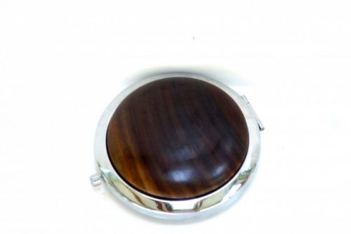 compact with decorative wooden top in old lignum vitae wood
