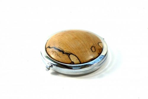 Double mirror compact with wooden top in English Spalted Beech