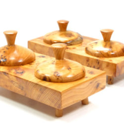 salt and pepper pinch pots wooden handmade