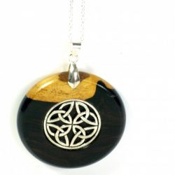 Pendant African Blackwood with celtic knot inlaid in Tibetan silver