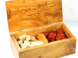 custom made Tak wooden board game in English burr yew with Sycamore and Padauk