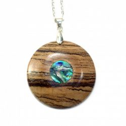 zebrano and abalone shell pendant