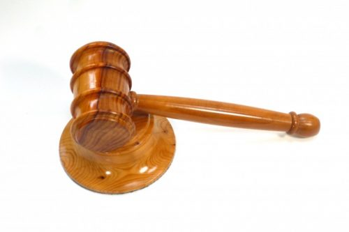wooden gavel and block