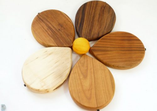 Handmade hand cut wooden lemon shaped chopping boards with stalk detail choice of woods