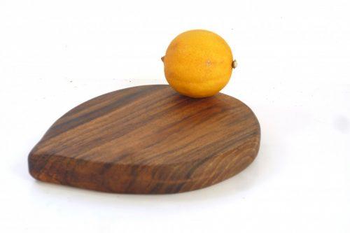 Handmade hand cut wooden lemon shaped chopping board English Walnut with stalk detail
