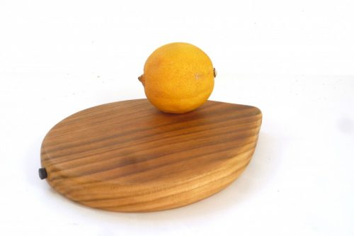 Handmade hand cut wooden lemon shaped chopping board with stalk detail English Wild Cherry