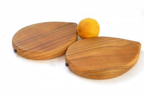Handmade hand cut wooden lemon shaped chopping boards with stalk detail set of 2 English Wild Cherry