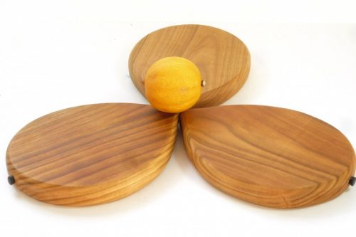 Handmade hand cut wooden lemon shaped chopping boards with stalk detail set of 3 English Wild Cherry