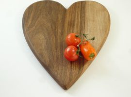 handmade hand cut heart shaped wooden chopping board