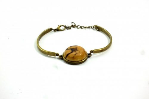 bronze bracelet with spalted beech wood inset