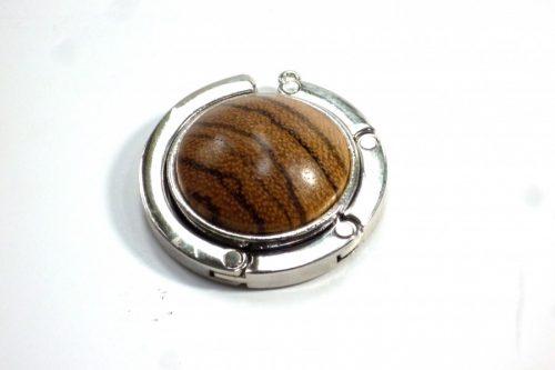 handbag holder in chrome and zebrano wood