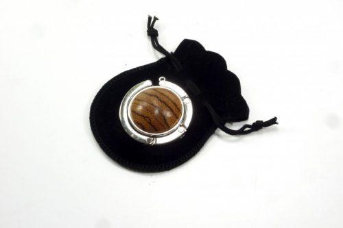 handbag holder chrome and zebrano wood