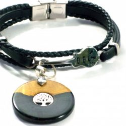 Leather bracelet with guitar link African Blackwood charm with Tree of Life Inset