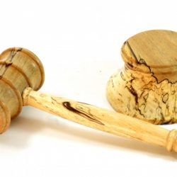 handmade gavel and block in English spalted beech