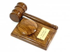 handmade presentation gavel and block with personalised plaque