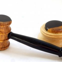 Gavel and block in African Blackwood Branch with blackwood and sycamore striking block