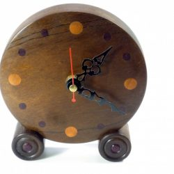 handmade wooden clock brown Afra with numerals in Padauk and Yew