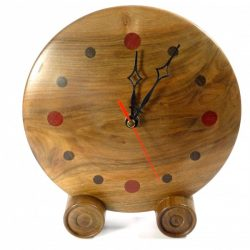 handmade wooden clock English walnut wood with numerals in Wenge & Padauk
