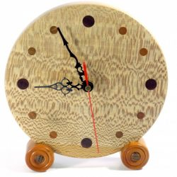 Handmade wooden clock English Lacewood with Padauk & Yew