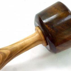 Heavyweight carving mallet old lignum dark English Wild Cherry handle