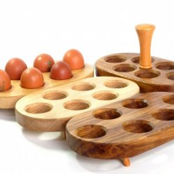 Handmade Egg stands in selection of woods and egg stand with handle