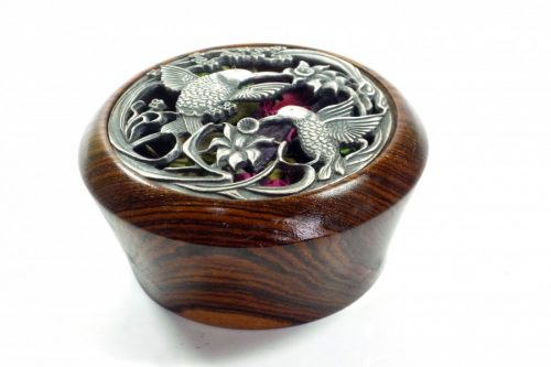 Handmade Potpourri bowl bocote wood pewter lid