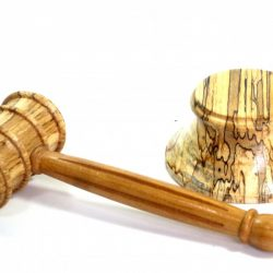 Handmade gavel fluted handle and block spectacularly Spalted English Beech