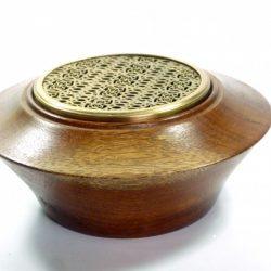 Afrormosia wood potpourri bowl bronze lid