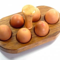 egg holder with handle in English Brown Oak